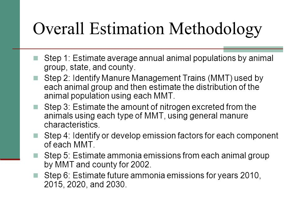 Overall Estimation Methodology Step 1: Estimate average annual animal populations by animal group, state, and county.
