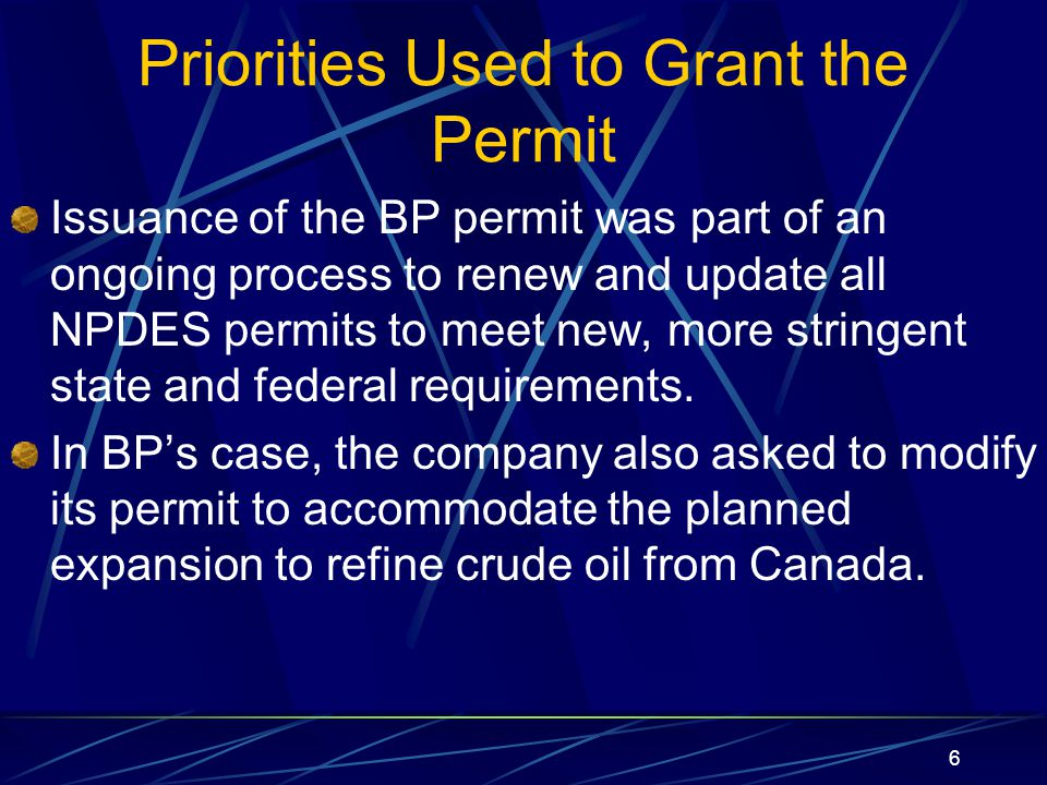 7 Permit Limits, Requirements Permit limits are set to meet: Water quality standards to protect aquatic life, drinking water and recreation Technology standards consistently applied each type of industry Permits also contain requirements such as: Whole effluent toxicity testing If the applicant meets all legal and regulatory requirements, the permit must be issued.