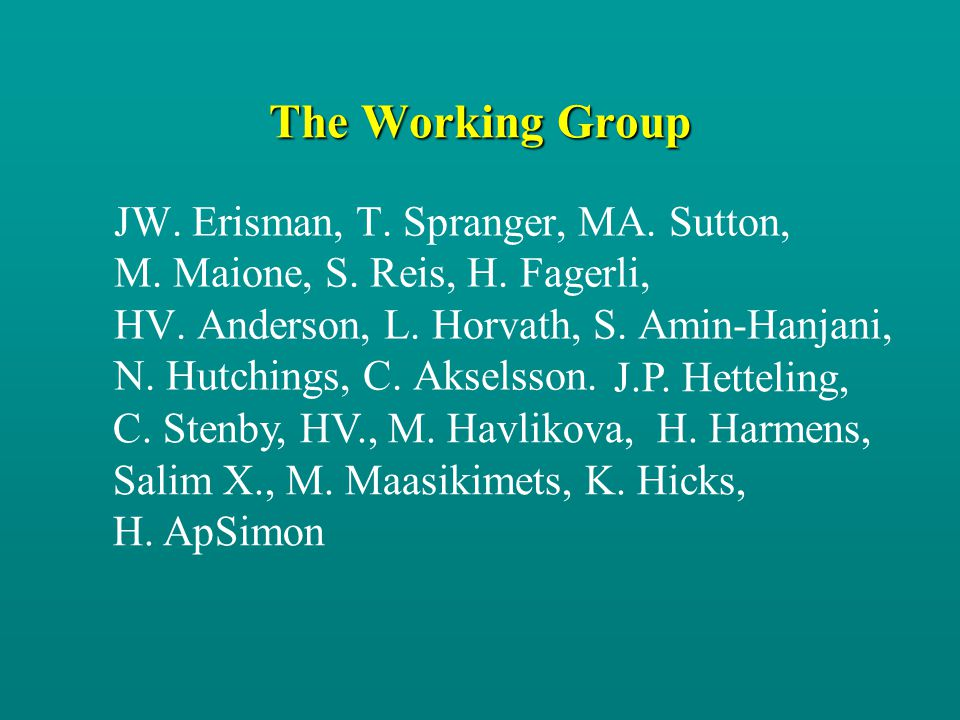 The Working Group JW. Erisman, T. Spranger, MA. Sutton, M. Maione, S. Reis, H. Fagerli, HV. Anderson, L. Horvath, S. Amin-Hanjani, N. Hutchings, C. Ak