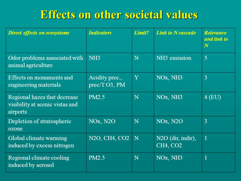 Effects on other societal values Direct effects on ecosystemsIndicatorsLimit?Link to N cascadeRelevance and link to N Odor problems associated with animal agriculture NH3NNH3 emission5 Effects on monuments and engineering materials Acidity prec., prec/T O3, PM YNOx, NH33 Regional hazes that decrease visibility at scenic vistas and airports PM2.5NNOx, NH34 (EU) Depletion of stratospheric ozone NOx, N2ON 3 Global climate warming induced by excess nitrogen N2O, CH4, CO2NN2O (dir, indir), CH4, CO2 1 Regional climate cooling induced by aerosol PM2.5NNOx, NH31