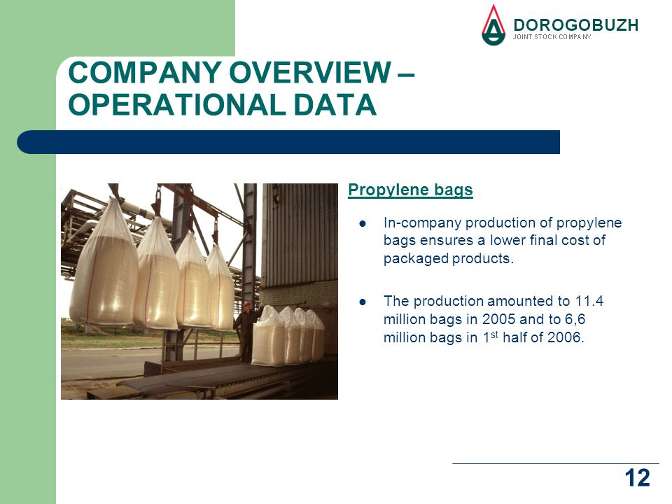 12 COMPANY OVERVIEW – OPERATIONAL DATA In-company production of propylene bags ensures a lower final cost of packaged products.
