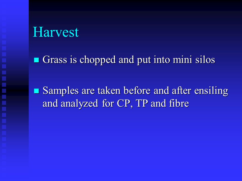 Harvest Grass is chopped and put into mini silos Grass is chopped and put into mini silos Samples are taken before and after ensiling and analyzed for CP, TP and fibre Samples are taken before and after ensiling and analyzed for CP, TP and fibre