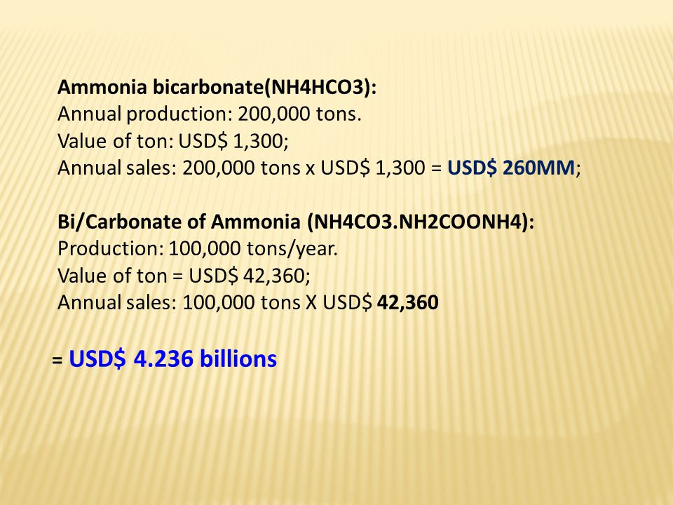 Ammonia bicarbonate(NH4HCO3): Annual production: 200,000 tons.