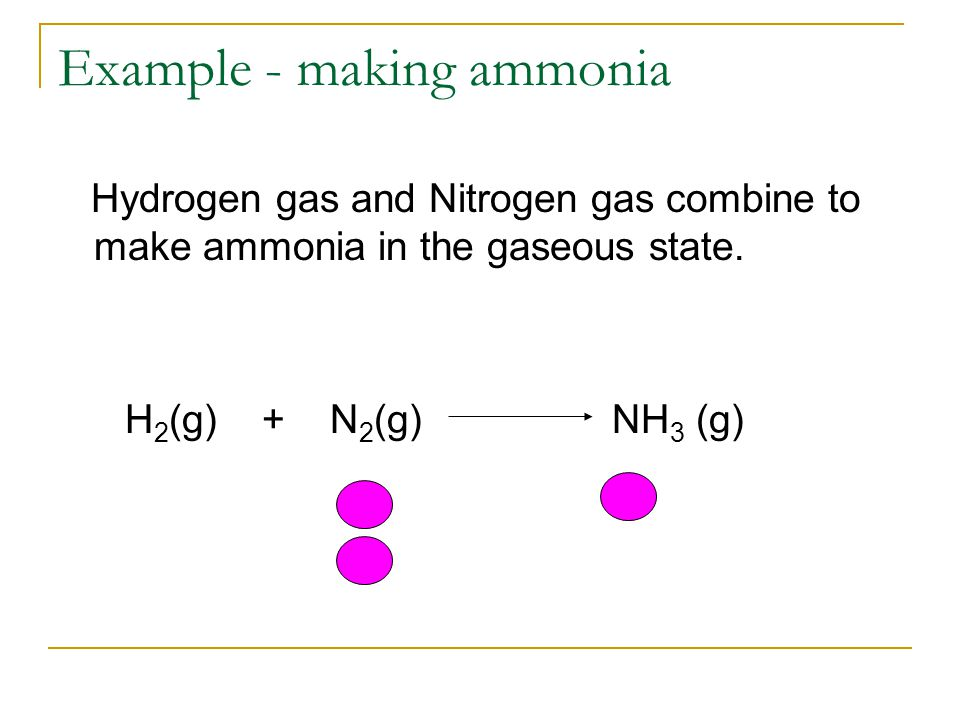 Example - making ammonia Hydrogen gas and Nitrogen gas combine to make ammonia in the gaseous state.