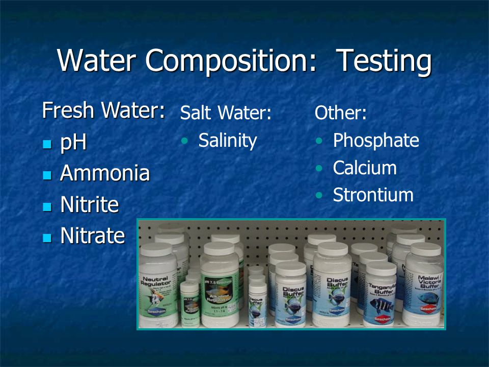 Water Composition: Testing Fresh Water: pH pH Ammonia Ammonia Nitrite Nitrite Nitrate Nitrate Salt Water: Salinity Other: Phosphate Calcium Strontium