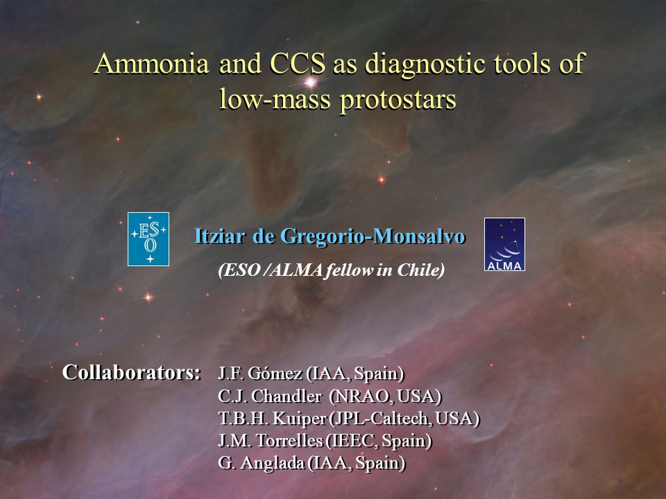 Ammonia and CCS as diagnostic tools of low-mass protostars Ammonia and CCS as diagnostic tools of low-mass protostars Itziar de Gregorio-Monsalvo (ESO /ALMA fellow in Chile) Collaborators: J.F.