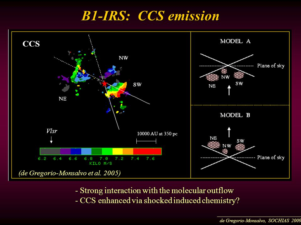 B1-IRS: CCS emission - Strong interaction with the molecular outflow - CCS enhanced via shocked induced chemistry.