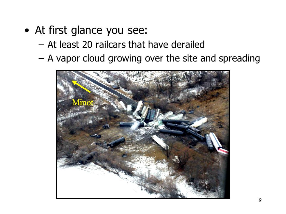 9 At first glance you see: –At least 20 railcars that have derailed –A vapor cloud growing over the site and spreading