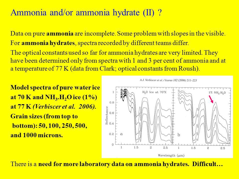 Ammonia and/or ammonia hydrate (II) .Data on pure ammonia are incomplete.