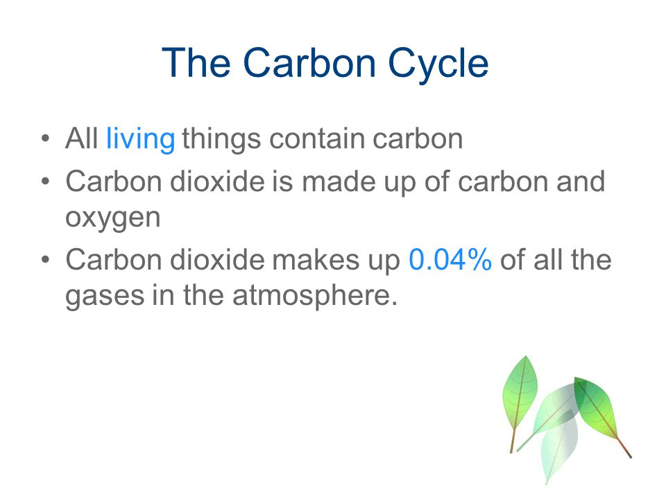 All living things contain carbon Carbon dioxide is made up of carbon and oxygen Carbon dioxide makes up 0.04% of all the gases in the atmosphere.
