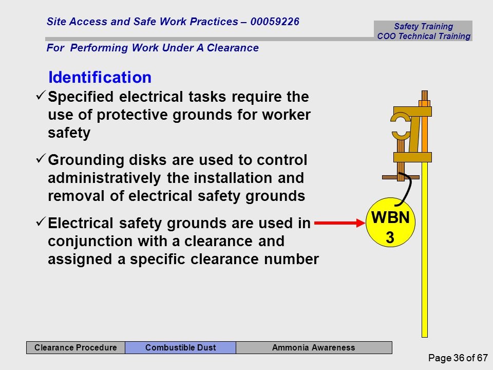 Safety Training COO Technical Training Ammonia Awareness Combustible Dust Clearance Procedure Site Access and Safe Work Practices – 00059226 For Performing Work Under A Clearance Page 36 of 67 Identification Specified electrical tasks require the use of protective grounds for worker safety Grounding disks are used to control administratively the installation and removal of electrical safety grounds Electrical safety grounds are used in conjunction with a clearance and assigned a specific clearance number WBN 3