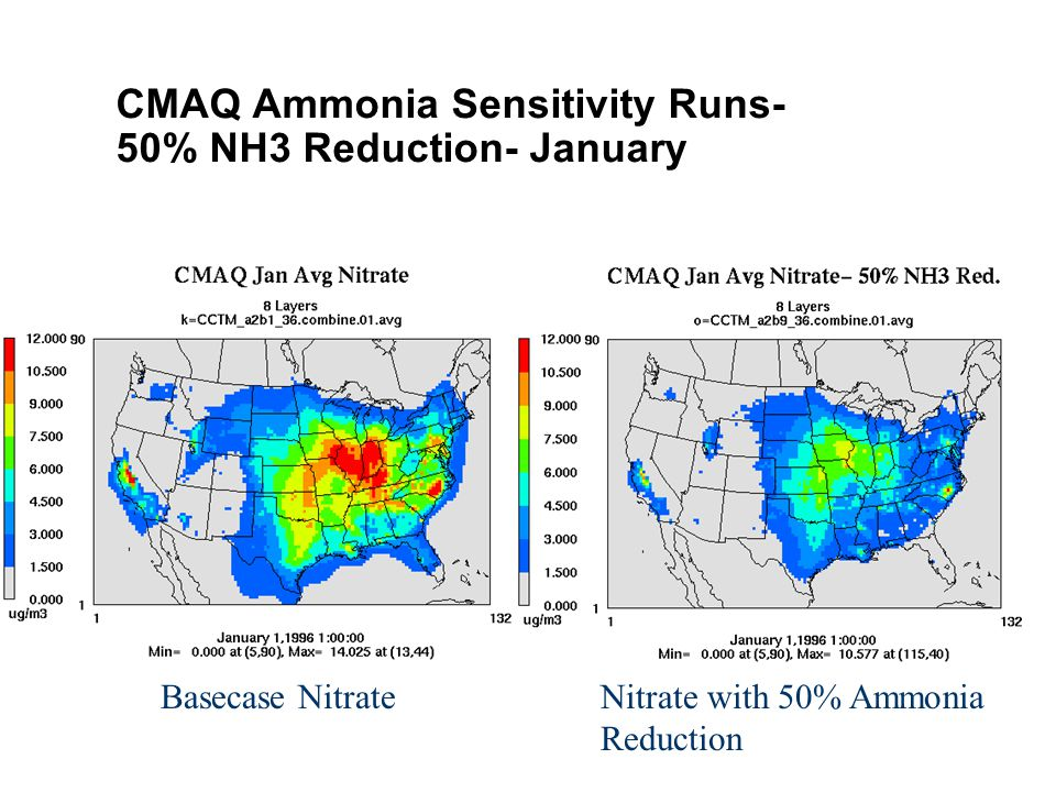CMAQ Ammonia Sensitivity Runs- 50% NH3 Reduction- January Basecase NitrateNitrate with 50% Ammonia Reduction