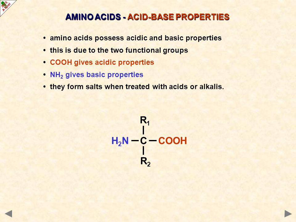 Basic properties: with H + HOOCCH 2 NH 2 + H + ——> HOOCCH 2 NH 3 + with HClHOOCCH 2 NH 2 + HC l ——> HOOCCH 2 NH 3 + C l ¯ Acidic properties: with OH¯HOOCCH 2 NH 2 + OH¯ ——> ¯OOCCH 2 NH 2 + H 2 O with NaOH HOOCCH 2 NH 2 + NaOH ——> Na+ ¯OOCCH 2 NH 2 + H 2 O