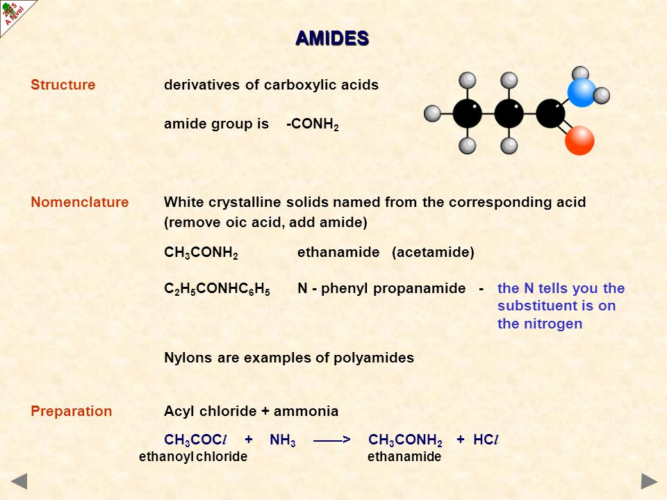 AMIDES - CHEMICAL PROPERTIES Hydrolysis general reaction CH 3 CONH 2 + H 2 O ——> CH 3 COOH + NH 3 acidic soln.