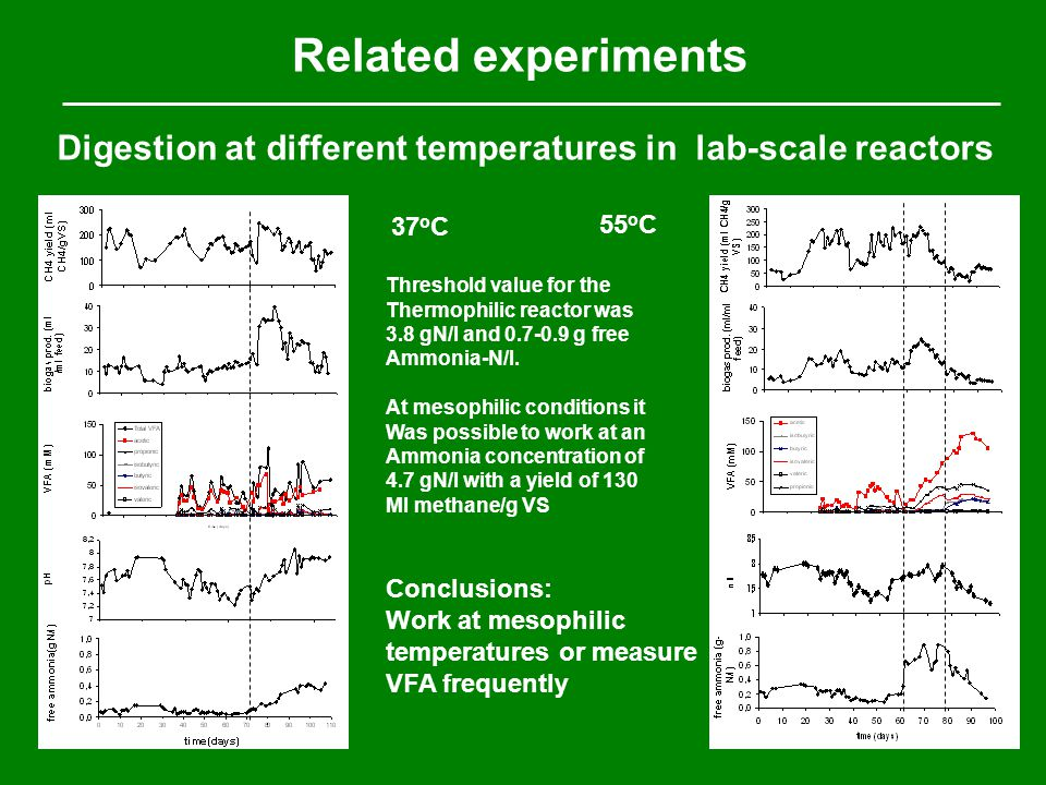 Digestion at different temperatures in lab-scale reactors Related experiments 37 o C 55 o C Conclusions: Work at mesophilic temperatures or measure VFA frequently Threshold value for the Thermophilic reactor was 3.8 gN/l and 0.7-0.9 g free Ammonia-N/l.