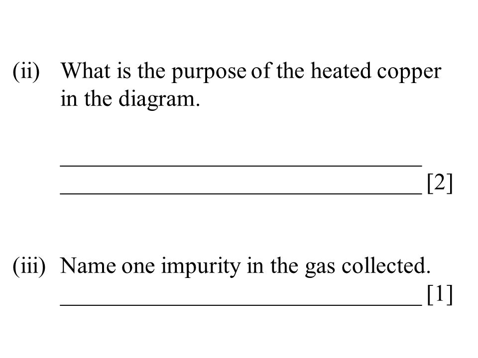 (ii)What is the purpose of the heated copper in the diagram. _______________________________ _______________________________ [2] (iii)Name one impurit