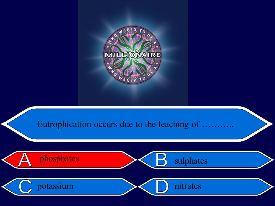 nitrates Eutrophication occurs due to the leaching of ……….. sulphates phosphates potassium