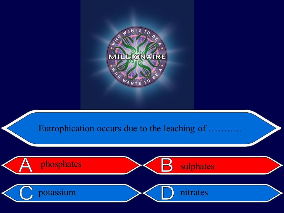 Eutrophication occurs due to the leaching of ……….. phosphates sulphates potassiumnitrates