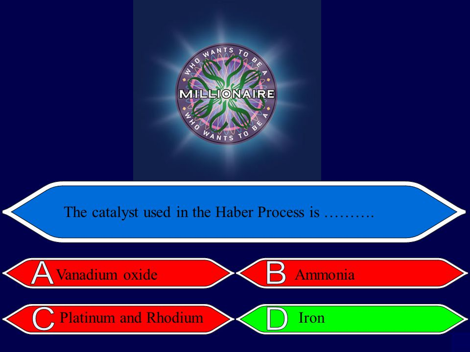 The catalyst used in the Haber Process is ………. Vanadium oxide Platinum and Rhodium Ammonia Iron