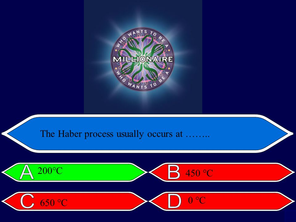 The Haber process usually occurs at …….. 200°C 450 °C 650 °C 0 °C