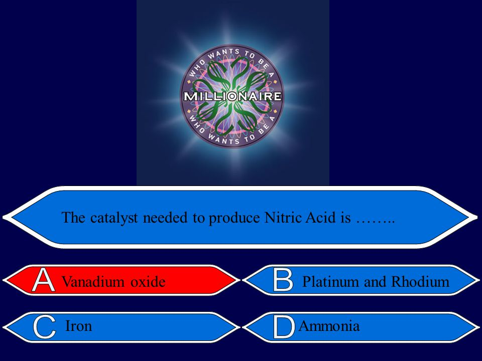 Platinum and Rhodium The catalyst needed to produce Nitric Acid is …….. Vanadium oxide IronAmmonia