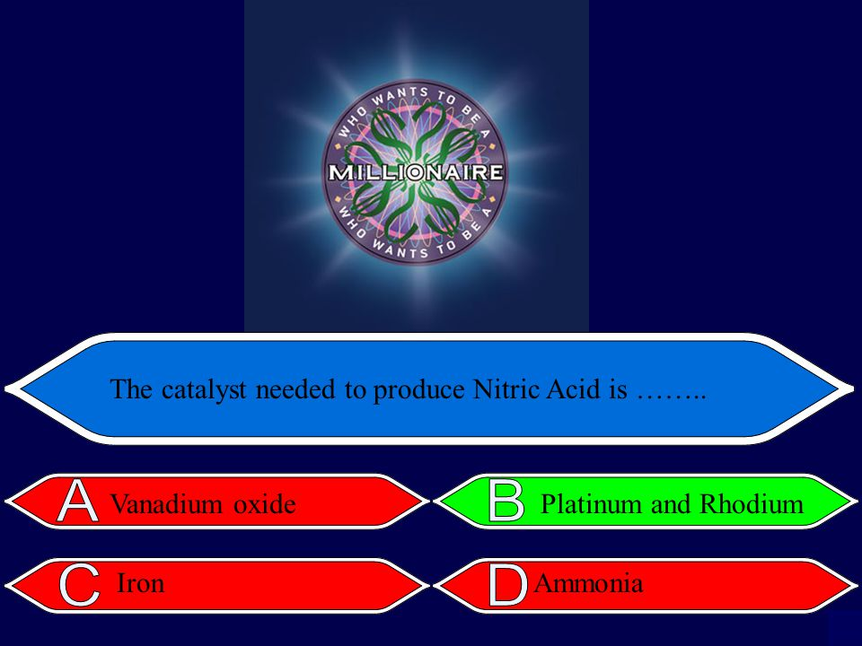The catalyst needed to produce Nitric Acid is …….. Vanadium oxide Iron Platinum and Rhodium Ammonia