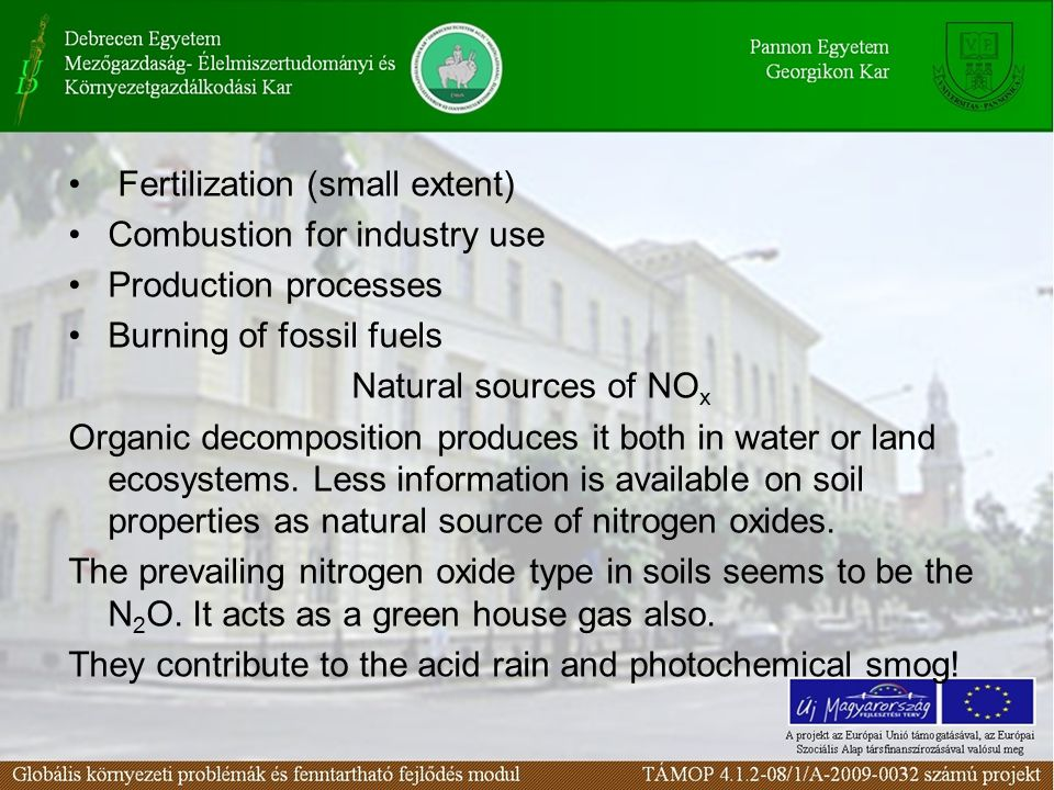 Fertilization (small extent) Combustion for industry use Production processes Burning of fossil fuels Natural sources of NO x Organic decomposition pr