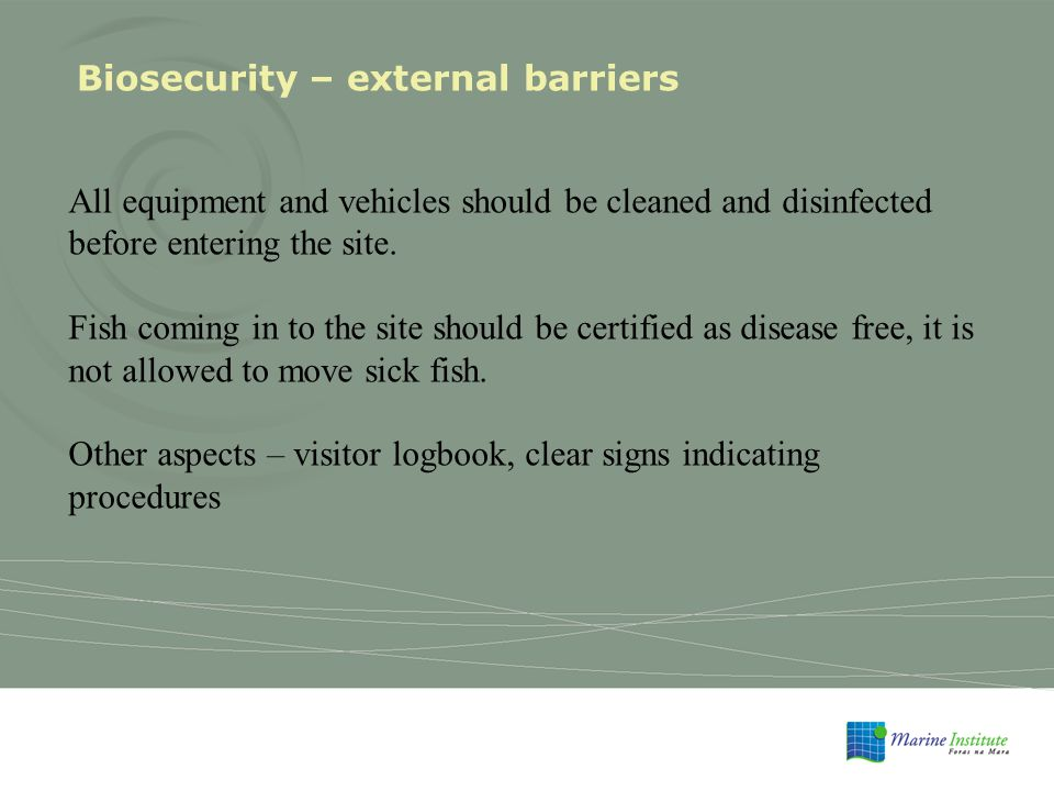 Biosecurity – external barriers All equipment and vehicles should be cleaned and disinfected before entering the site.