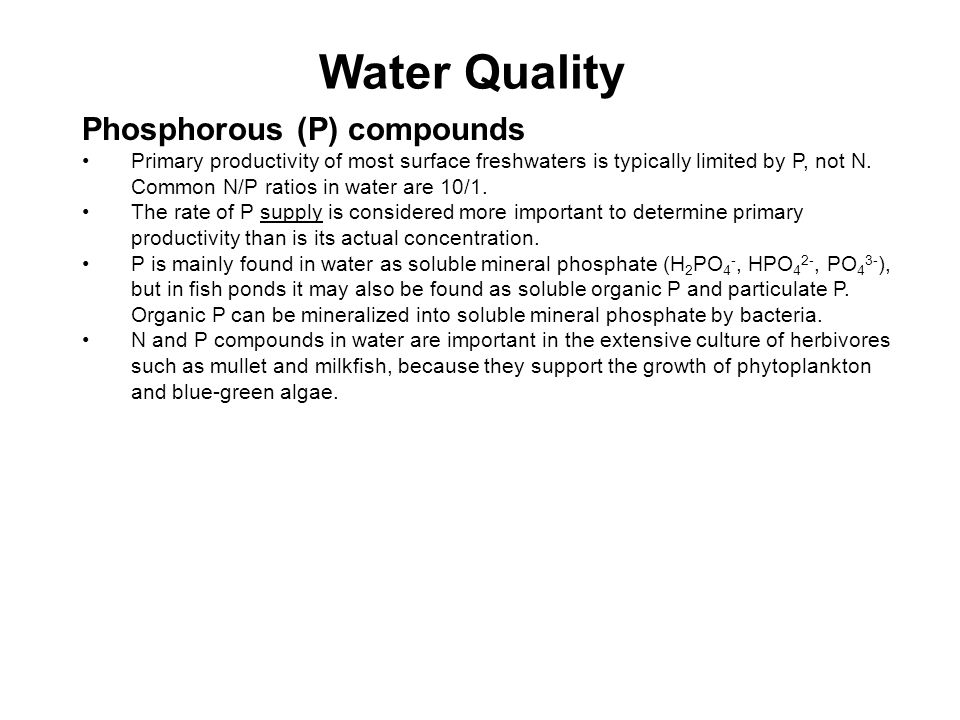 Water Quality Phosphorous (P) compounds Primary productivity of most surface freshwaters is typically limited by P, not N.