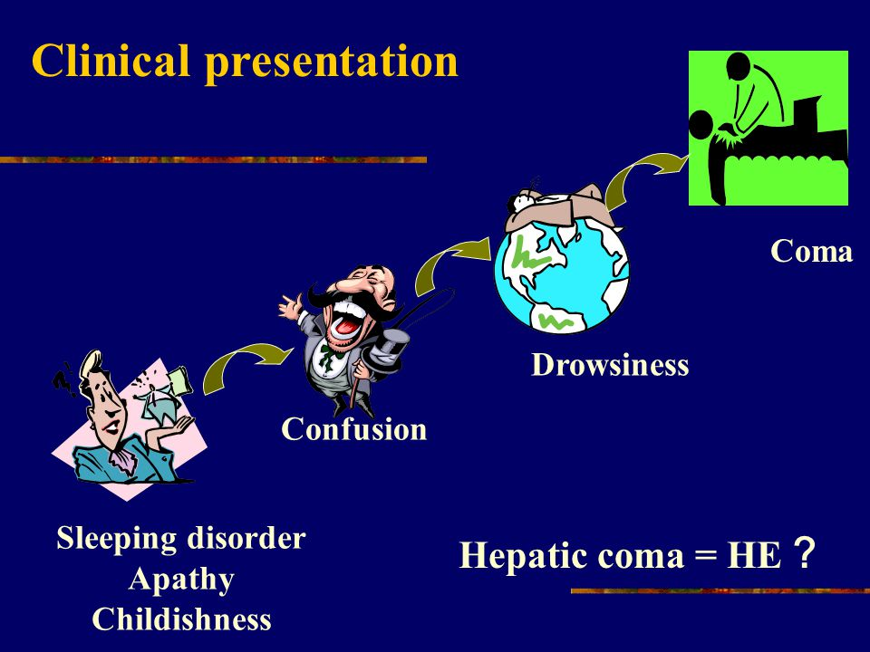 Clinical presentation Sleeping disorder Apathy Childishness Hepatic coma = HE ? Confusion Drowsiness Coma