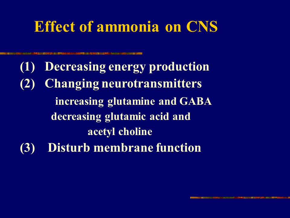 (1) Decreasing energy production (2) Changing neurotransmitters increasing glutamine and GABA decreasing glutamic acid and acetyl choline (3) Disturb