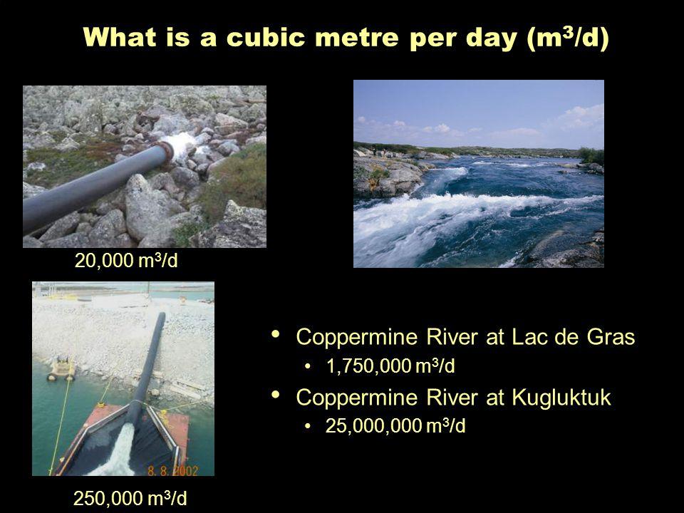What is a cubic metre per day (m 3 /d) 20,000 m 3 /d 250,000 m 3 /d Coppermine River at Lac de Gras 1,750,000 m 3 /d Coppermine River at Kugluktuk 25,000,000 m 3 /d