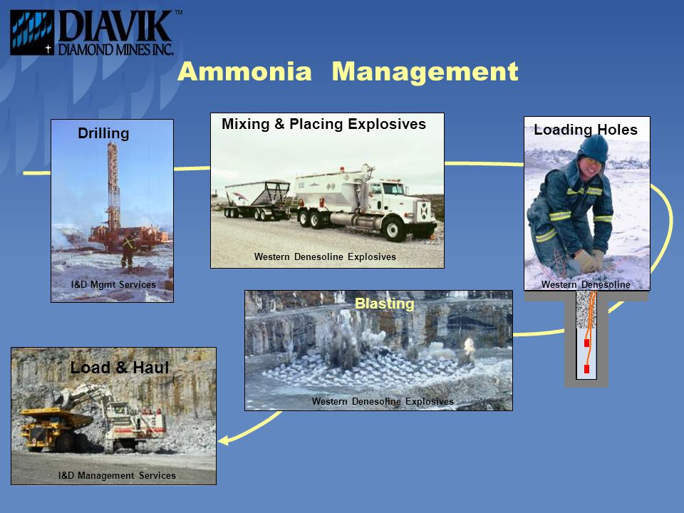 Ammonia Management Drilling I&D Mgmt Services Mixing & Placing Explosives Western Denesoline Explosives Blasting Western Denesoline Explosives Loading Holes Western Denesoline Loading Load & Haul I&D Management Services