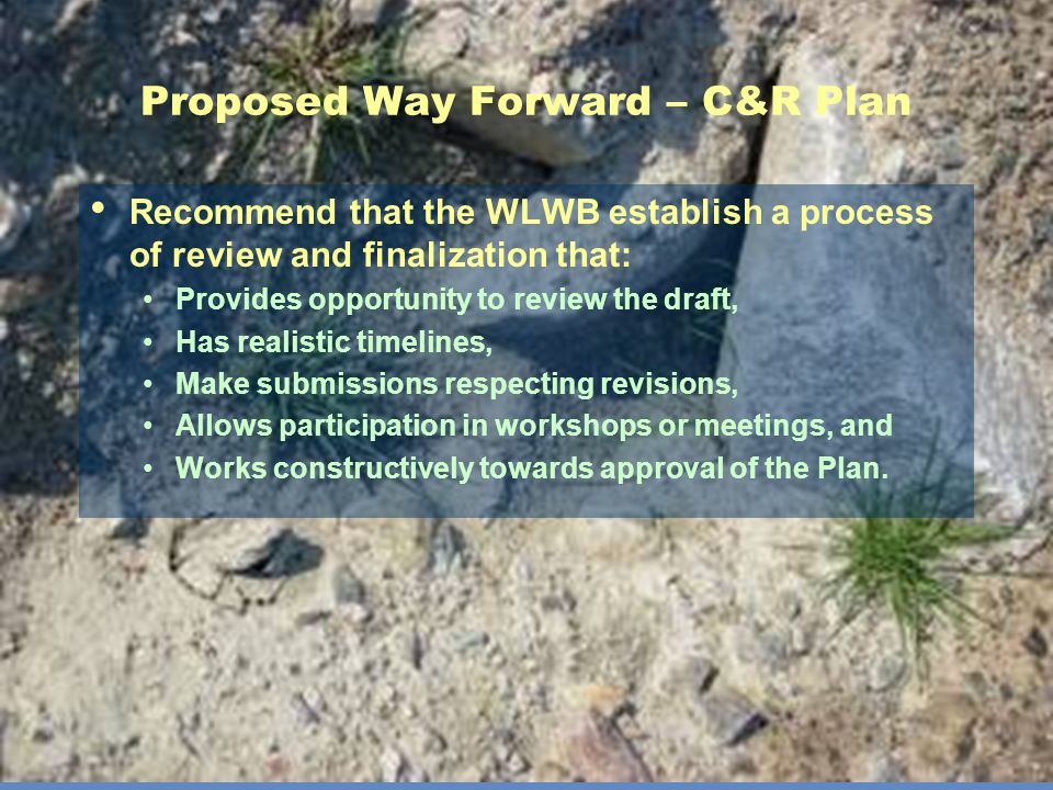Proposed Way Forward – C&R Plan Recommend that the WLWB establish a process of review and finalization that: Provides opportunity to review the draft, Has realistic timelines, Make submissions respecting revisions, Allows participation in workshops or meetings, and Works constructively towards approval of the Plan.