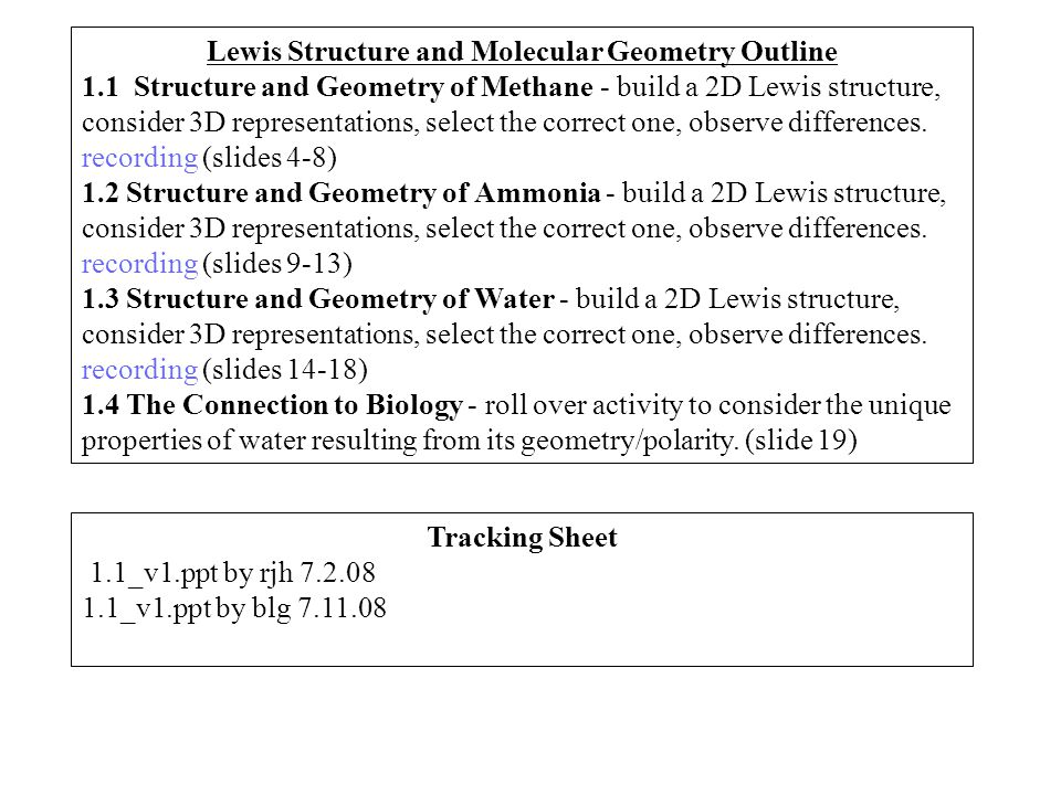 Tracking Sheet 1.1_v1.ppt by rjh 7.2.08 1.1_v1.ppt by blg 7.11.08 Lewis Structure and Molecular Geometry Outline 1.1 Structure and Geometry of Methane