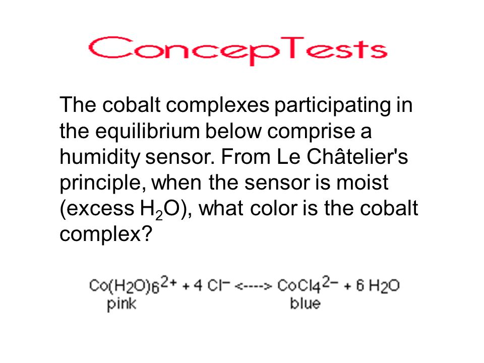 The cobalt complexes participating in the equilibrium below comprise a humidity sensor.