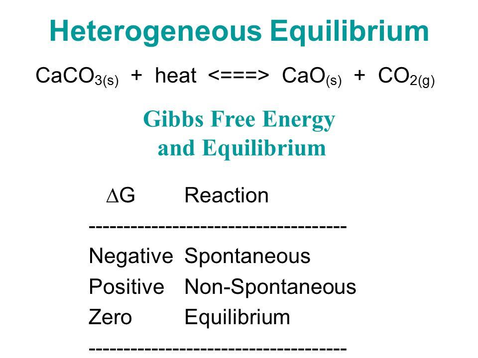 Heterogeneous Equilibrium CaCO 3(s) + heat CaO (s) + CO 2(g) Gibbs Free Energy and Equilibrium  G Reaction ------------------------------------- NegativeSpontaneous PositiveNon-Spontaneous ZeroEquilibrium -------------------------------------