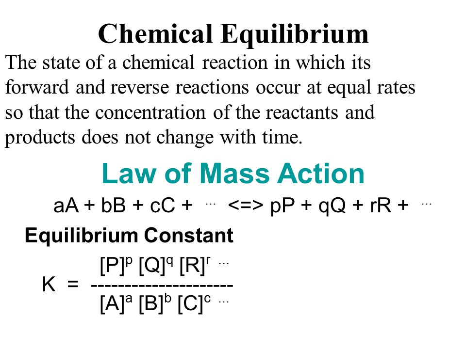The state of a chemical reaction in which its forward and reverse reactions occur at equal rates so that the concentration of the reactants and products does not change with time.