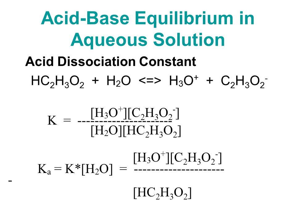 Acid-Base Equilibrium in Aqueous Solution Acid Dissociation Constant HC 2 H 3 O 2 + H 2 O H 3 O + + C 2 H 3 O 2 - [H 3 O + ][C 2 H 3 O 2 - ] K = ---------------------- [H 2 O][HC 2 H 3 O 2 ] [H 3 O + ][C 2 H 3 O 2 - ] K a = K*[H 2 O] = --------------------- - [HC 2 H 3 O 2 ]
