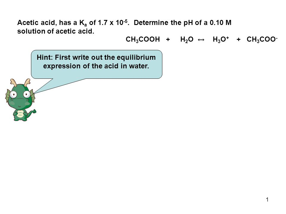 2 Now make a I.C.E.Chart and fill in the values CH 3 COOH + H 2 O ↔ H 3 O + + CH 3 COO - I.