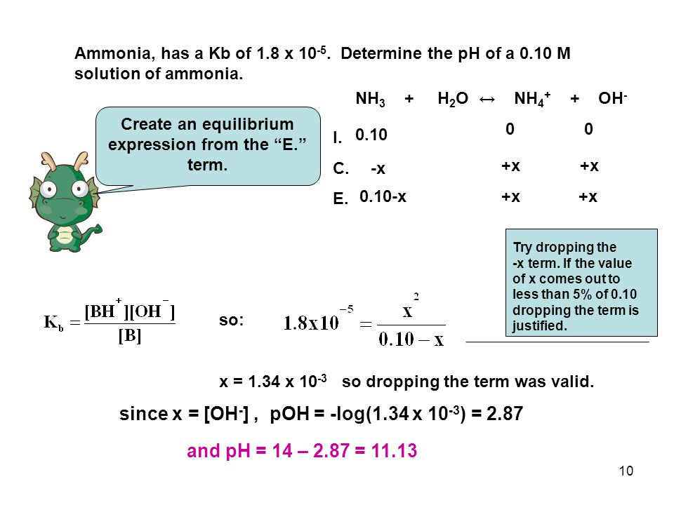 """10 Ammonia, has a Kb of 1.8 x 10 -5. Determine the pH of a 0.10 M solution of ammonia. Create an equilibrium expression from the """"E."""" term. NH 3 + H 2"""