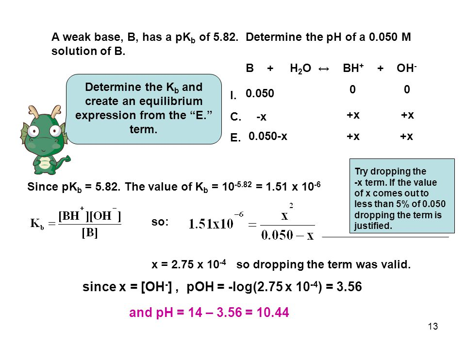 13 A weak base, B, has a pK b of 5.82. Determine the pH of a 0.050 M solution of B.