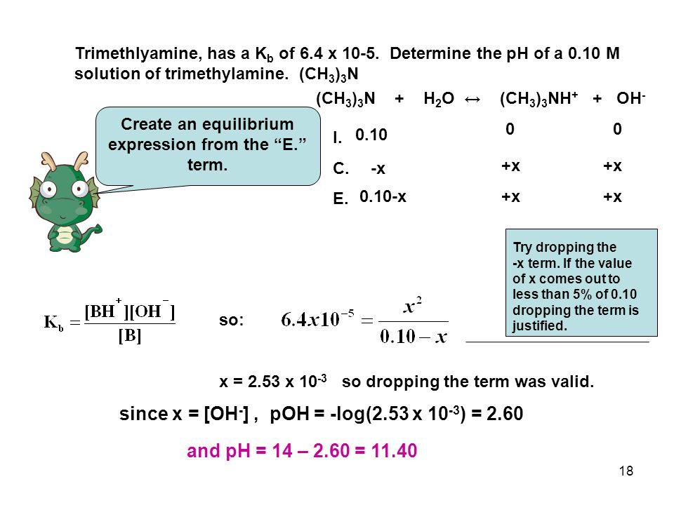 18 Trimethlyamine, has a K b of 6.4 x 10-5.