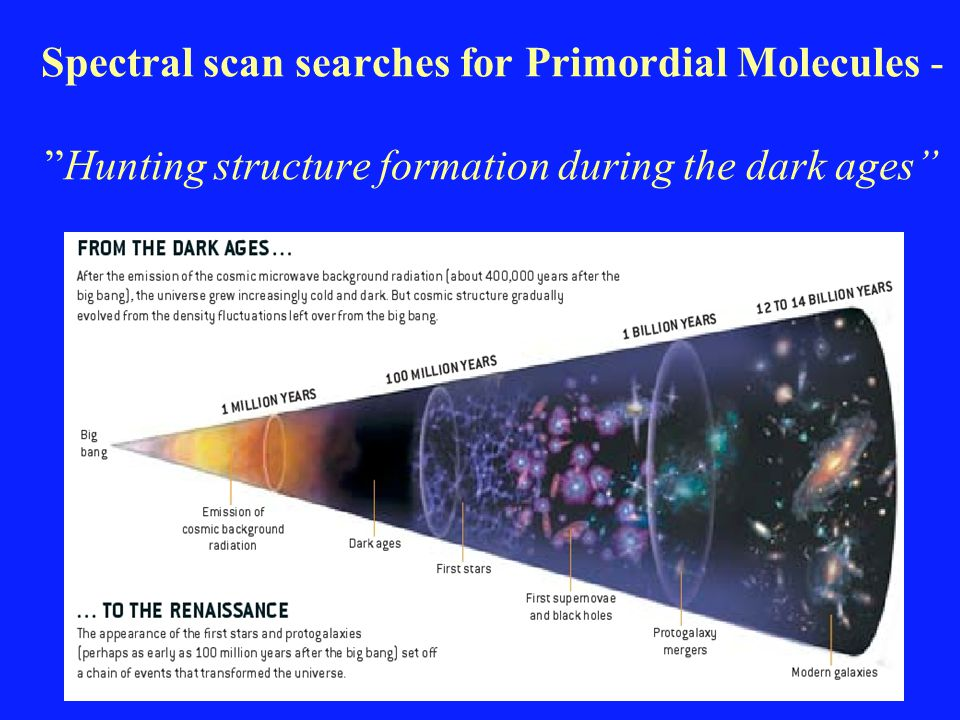 "Spectral scan searches for Primordial Molecules - ""Hunting structure formation during the dark ages"""