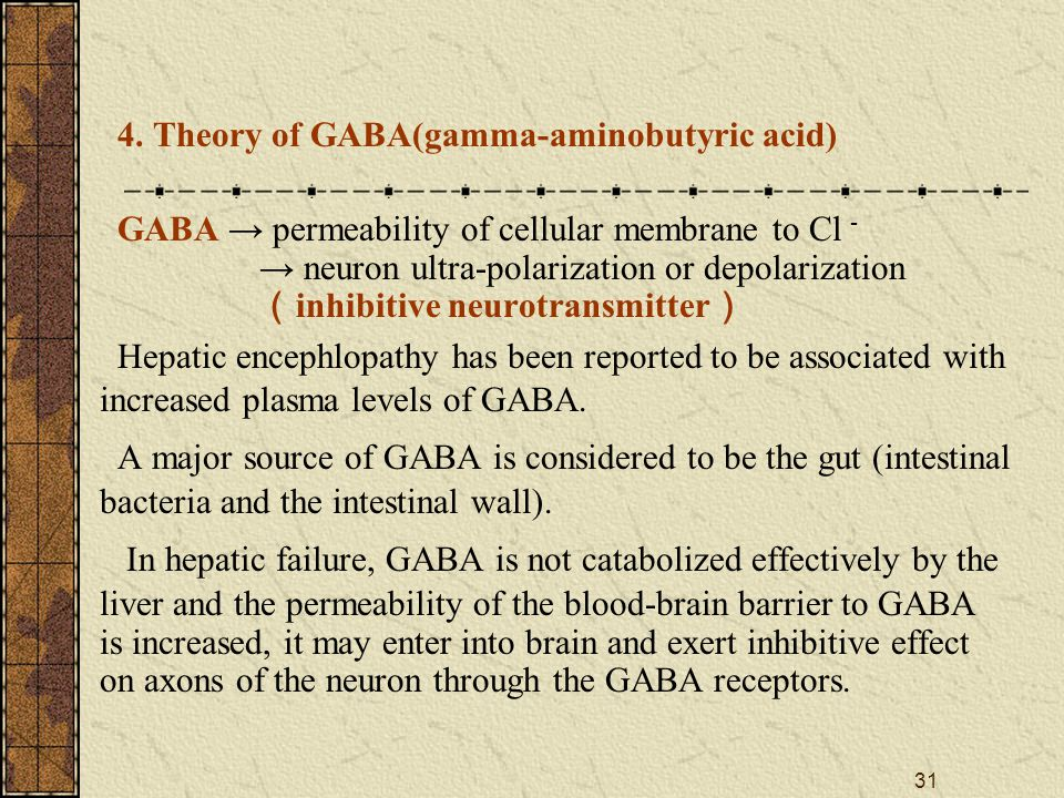32 Excitation ↓ GABA synthesis GABA release from vesicle by enteric bacteria of presynaptic neurons Removal of GABA by liver ↓ Combined to GABA-R on postsynaptic neurons ↓ Inflow of extracellular Cl - into postsynaptic neurons ↓ Hyperpolarization of postsynaptic neurons Hepatic failure ↓ CNS inhibition BBB permeability↑ The mechanism of GABA in HE Normal Liver Removal of GABA↓ GABA synthesis by enteric bacteria BBB normal