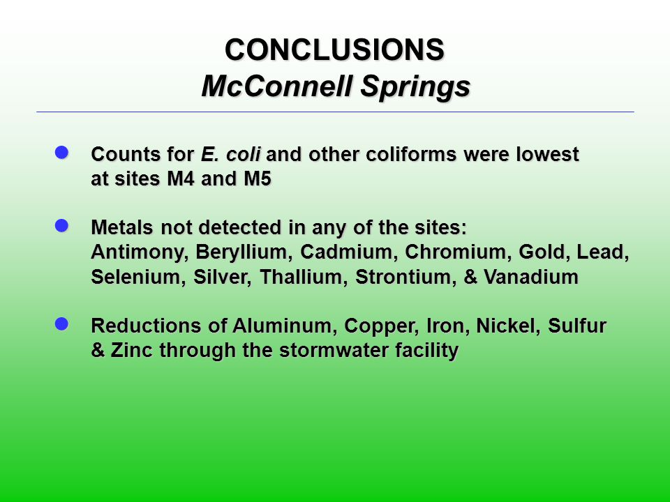 CONCLUSIONS McConnell Springs ● Counts for E. coli and other coliforms were lowest at sites M4 and M5 ● Metals not detected in any of the sites: Antim