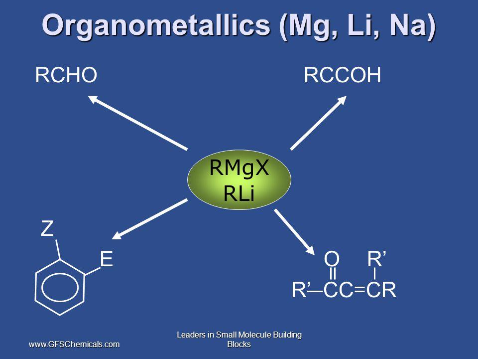www.GFSChemicals.com Leaders in Small Molecule Building Blocks Organometallics (Mg, Li, Na) RCHO RCCOH Z E O R' R' CC CR RMgX RLi