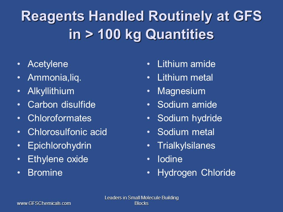 www.GFSChemicals.com Leaders in Small Molecule Building Blocks Reagents Handled Routinely at GFS in > 100 kg Quantities Acetylene Ammonia,liq.
