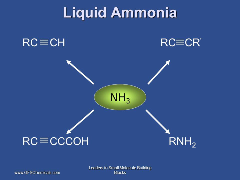 www.GFSChemicals.com Leaders in Small Molecule Building Blocks RC CH RC CR ' RC CCCOH RNH 2 NH 3 Liquid Ammonia