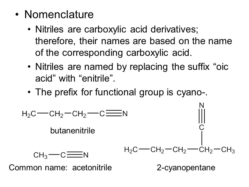 Nomenclature Nitriles are carboxylic acid derivatives; therefore, their names are based on the name of the corresponding carboxylic acid.